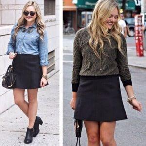 j. crew // fluted double crepe black mini skirt